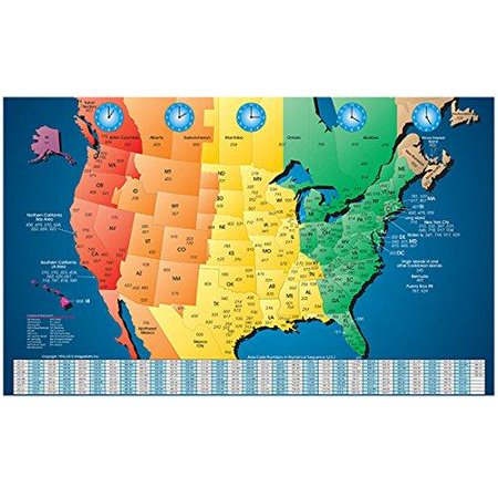 North America Laminated Gloss Full Color Time Zone Area Code Map incudes Reverse Lookup Desk Size Large 11 x 17 11x17 Desk