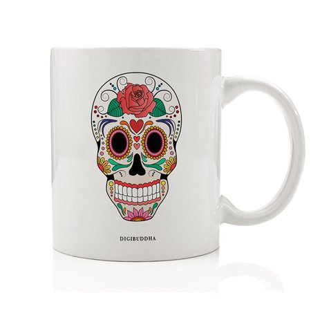 DAY OF THE DEAD Coffee Mug Día de Muertos Skull Image Beautiful Gift Idea October Halloween November All Soul's Day Present Celebrate Ancestors Family Friends 11oz Ceramic Tea Cup Digibuddha DM0615