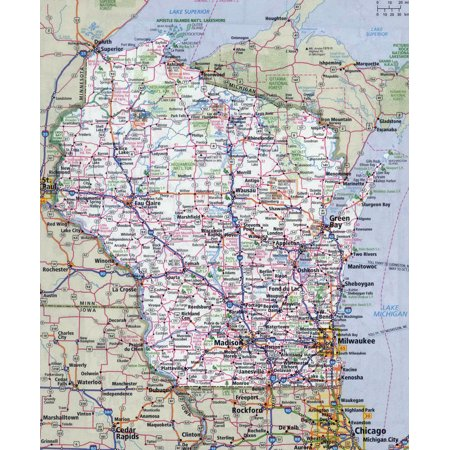 Wisconsin Fishing Maps - Laminated Map - Large detailed roads and highways map of Wisconsin state with all cities Poster 24 x 36