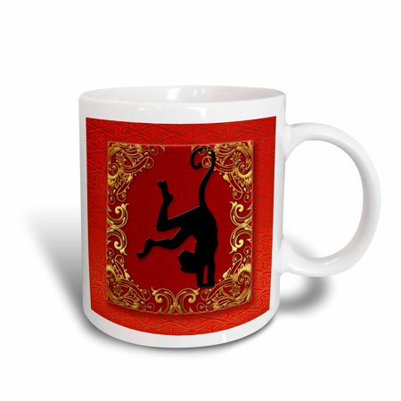 3dRose Chinese Zodiac Year of the Monkey Chinese New Year Red, Gold and Black - Ceramic Mug, 15-ounce Chinese Zodiac Year Monkey