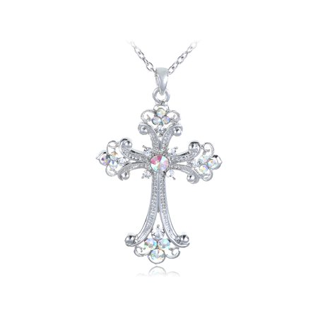 - Flourish Flower Gothic Renaissance Cross AB Crystal Rhinestone Pendant Necklace