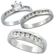 sterling silver cubic zirconia trio engagement wedding ring set for him and her 6 mm classic - Wedding Ring Set For Her