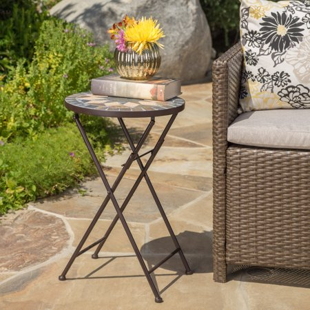 - Owen Outdoor Stone Side Table with Iron Frame, Beige and Black