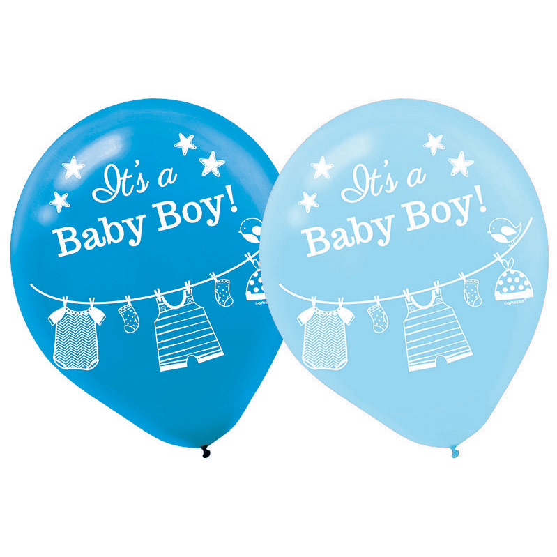 Baby Shower 'Shower with Love' Boy Latex Balloons (15ct)