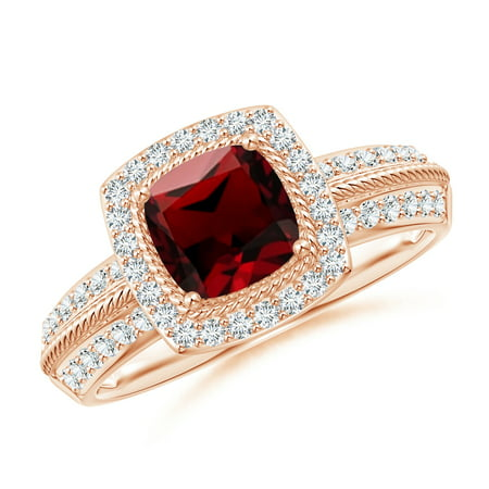 Valentine Jewelry Gift - Twisted Rope Cushion Garnet Halo Ring in 14K Rose Gold (6mm Garnet) - SR0242GD-RG-AAAA-6-11