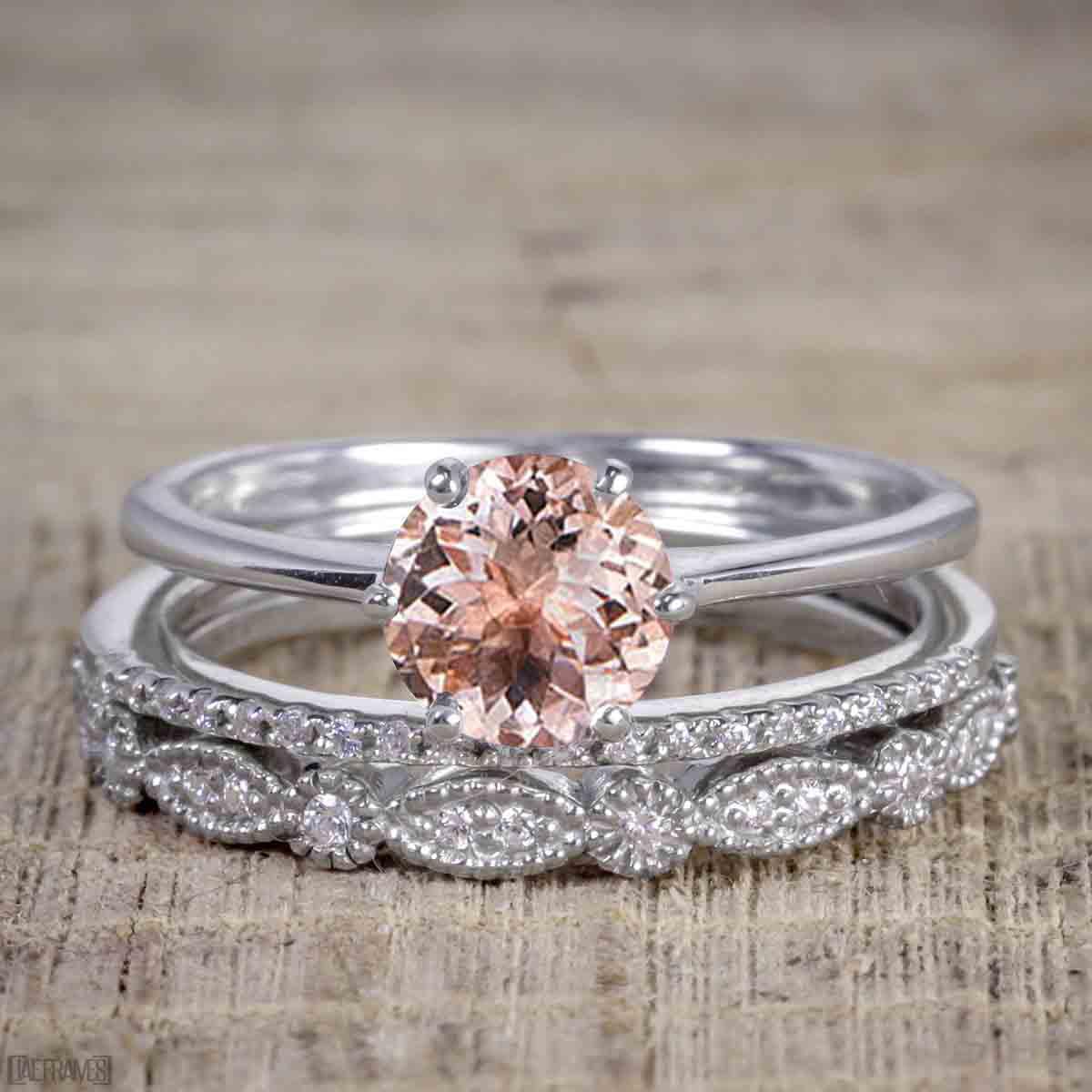 Artdeco 1.50 Carat Round cut Morganite and Diamond Trio Wedding Bridal Ring Set White Gold by JeenMata