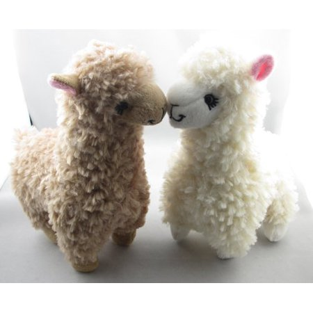 DSstyles 2pcs Cute Alpaca Plush Toy Camel Cream Llama Stuffed Animal Kids Doll 23cm Height