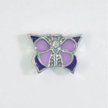 1 PC - Purple Enamel Butterfly Enamel Silver Charm for Floating Locket Jewelry (Multi Enameled Butterfly Charm)