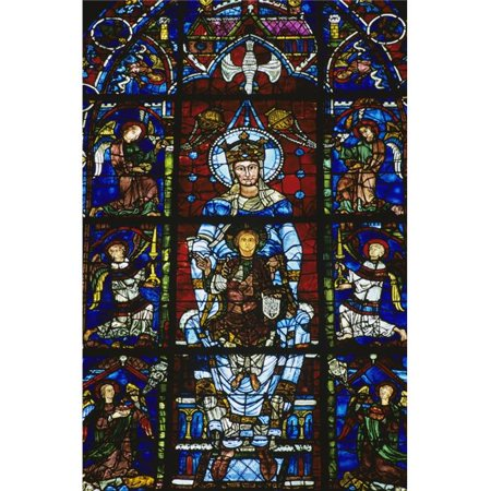 Stained Glass Window in Chartres Cathedral Poster Print by Bilderbuch, 12 x 18 - image 1 de 1