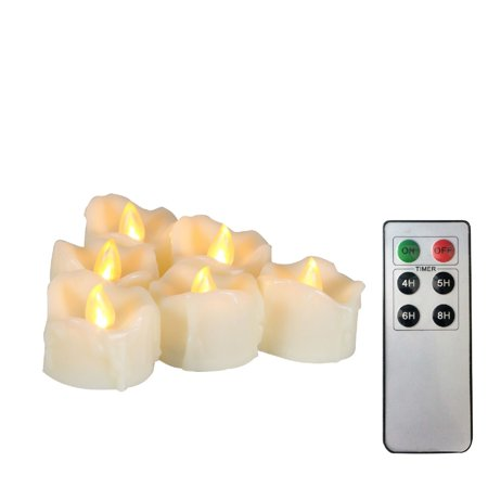 """EcoGecko Set of 6 Tealight/Votives Flameless LED Tea Lights with Remote & Timer Realistic Flickering Battery-operated Tealight Candles with Drips 1.5""""x1.5"""" Long Lasting Batteries Included - Flickering Flameless Tea Lights"""
