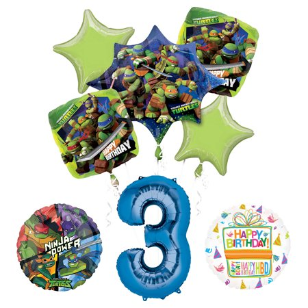 Teenage Mutant Ninja Turtles 3rd Birthday Party Supplies and TMNT Balloon Bouquet Decorations](Tmnt Party Decor)