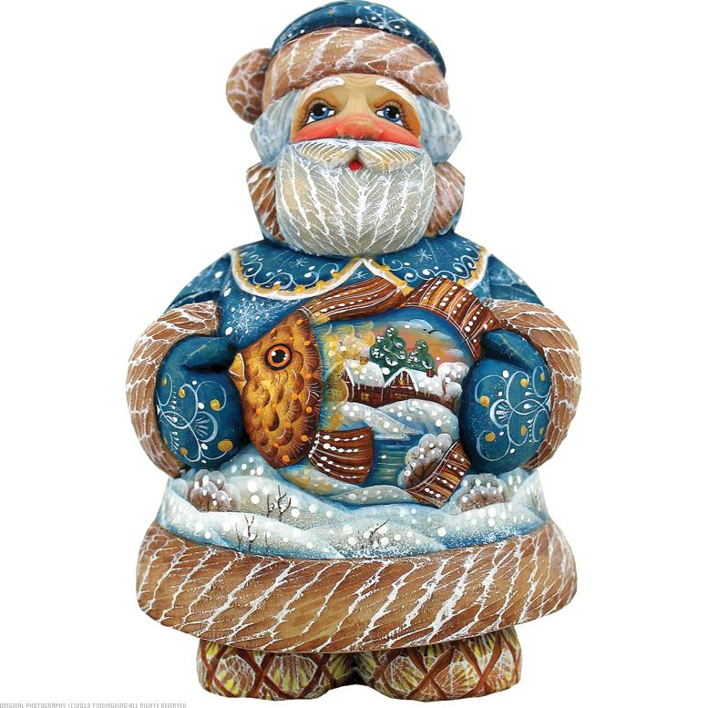 G. Debrekht Into the Village Sant a Figurine with Fish, 5-Inch Tall, Limited Edition of 600, Hand-Pa