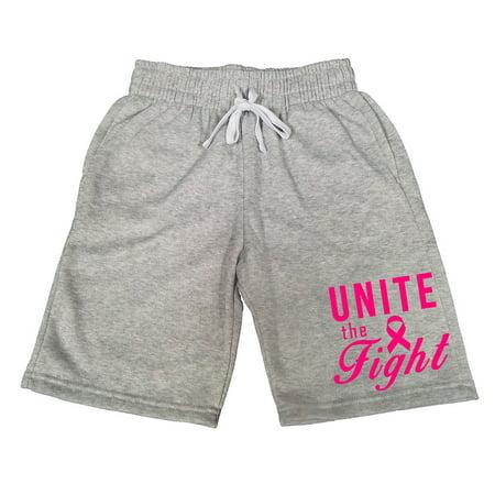 Men's Unite The Fight Pink Ribbon V396 Gray Fleece Jogger Sweatpants Gym Shorts Large Gray Fight Shorts