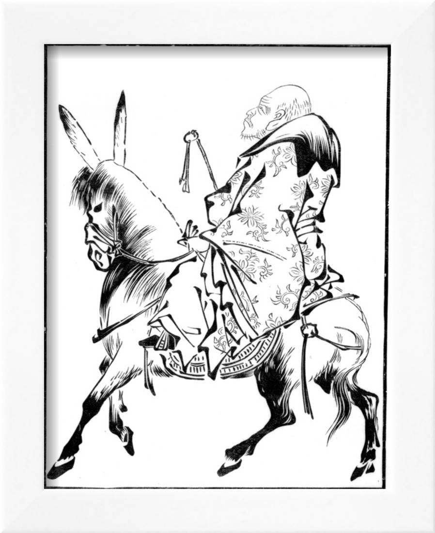 Chinese Priest On A Mule 15th Century Framed Print Wall Art By