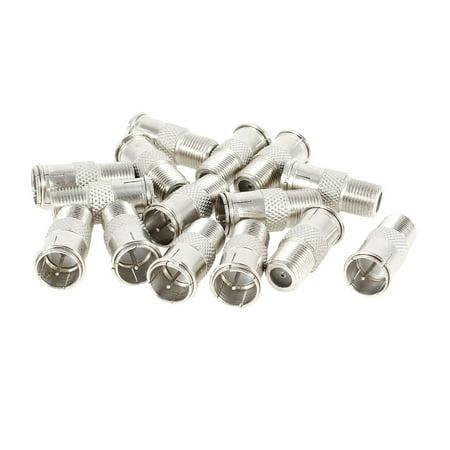 Unique Bargains 15 Pcs F Female to Male 9mm RF Coax Quick Adapter TV CATV Metal Connector Male Catv Twist