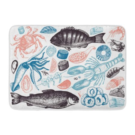 - GODPOK Collection of Seafood Fresh Fish Lobster Crab Oyster Mussel Squid Ring Caviar Sushi Vintage Food Sketch Rug Doormat Bath Mat 23.6x15.7 inch