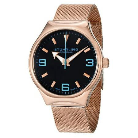 Stuhrling Original Men s 184.334451 Aviator Falcon Eagle Elite Swiss Quartz  Rose Tone Watch 836fd395b3e