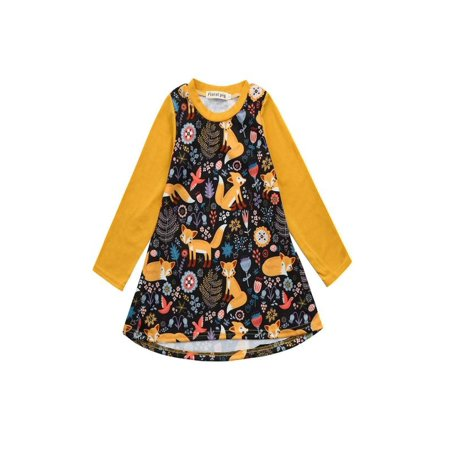 Outtop Toddler Kids Baby Girls Cartoon Fox Print Sun Dress Clothes - Cartoon Characters Outfits