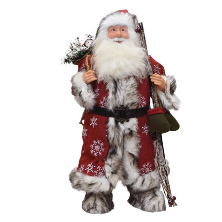 """24"""" Standing Snowflake Santa Claus Christmas Figure with Mittens and Staff"""