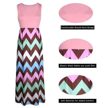 cf5ee2bd4110 Mioct - Women Color Block Chevron Striped Empire Waist Tank Maxi Dress for  Summer Beach Vacation