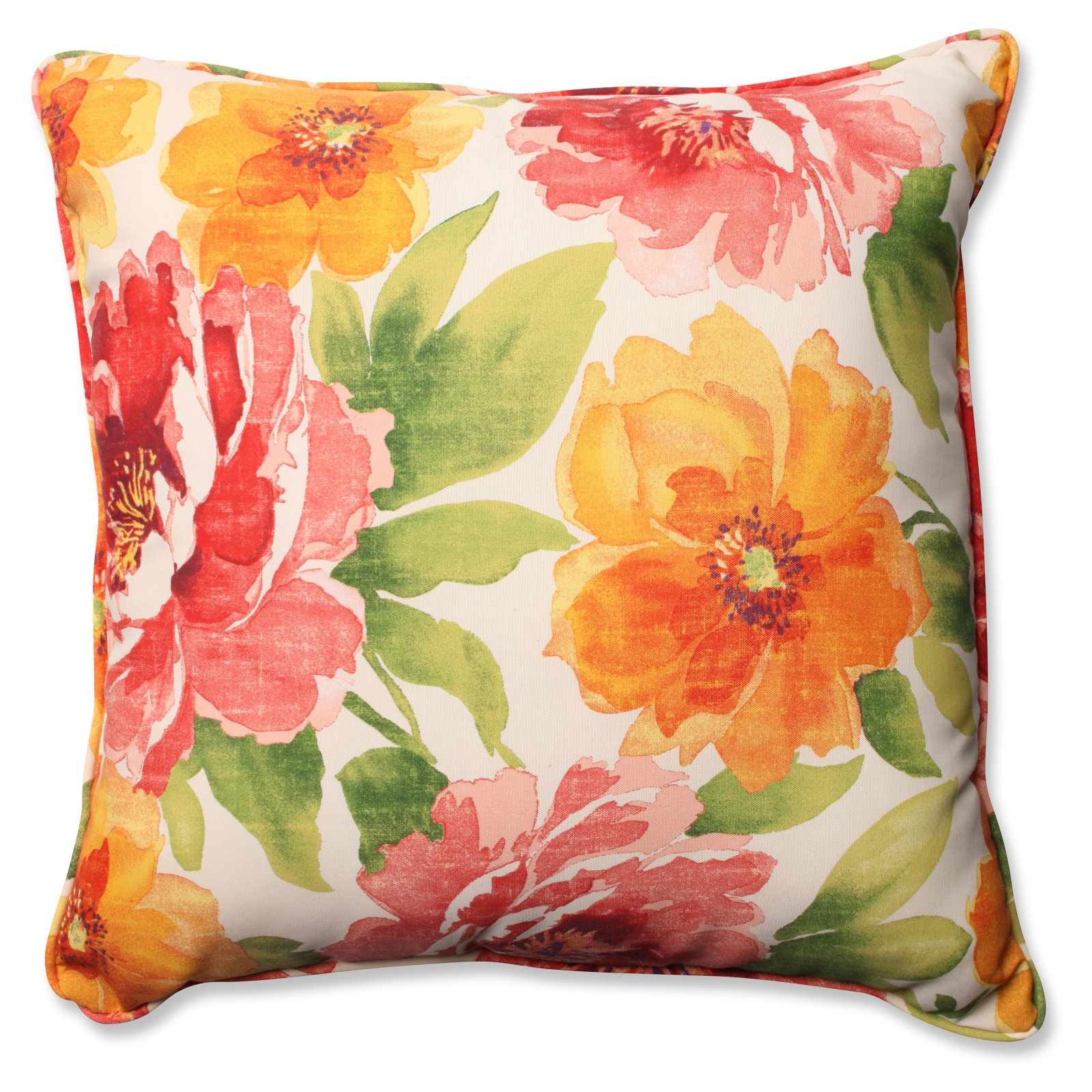 Pillow Perfect Muree Primrose Floral 25 in. Square Outdoor Floor Pillow