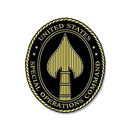 Operation Decal (BLACK Tall OVAL Special Operations Command Seal Sticker Decal (spear head spec ops) Size: 3 x 5 inch )