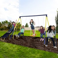 Sportspower Palmview Swing Set with Teeter-Totter, Standing Swing, and 5ft Heavy Duty Slide
