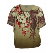 JM Collection Women's Printed Rhinestone Studded Top