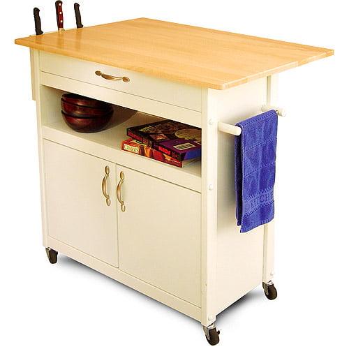 Walmart Kitchen Cart: Drop-Leaf Kitchen Island Cart, White