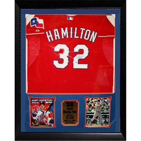 (MLB Josh Hamilton Autographed Shadowbox with Jersey, 36x44)