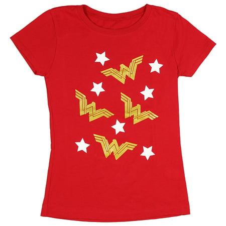 DC Comics Girls' Wonder Woman Gold WW Logo And Stars T-Shirt](Dc Comic Girls)