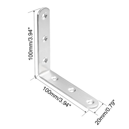 4pcs 100mmx100mmx20mm Stainless Steel Corner Brace L Shape Angle Bracket - image 2 de 4