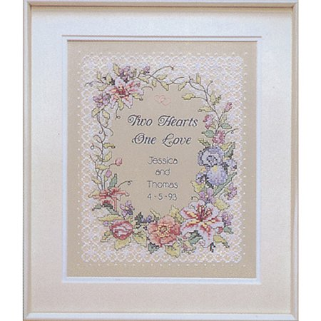 "Two Hearts Wedding Record Stamped Cross Stitch Kit, 11"" x 14"""