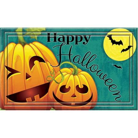 Apache Mills Fashionables Happy Halloween Jack O's Teal Door Mat (18 x 30)