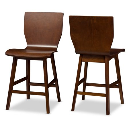 Fantastic Baxton Studio Elsa Mid Century Modern Scandinavian Style Dark Walnut Bent Wood Counter Stools Set Of 2 Ncnpc Chair Design For Home Ncnpcorg