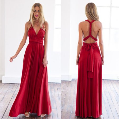 Hot Sale NEW Women Fashion Sleeveless Halter Bandage Ball Gown Dress Multi Worn Elegant Sexy Multiway Convertible Long Dresses(Wine Red) for $<!---->