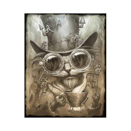 Steampunk Cat Hipster Animal Art Print Wall Art By Jeff (Cat Animal Art)