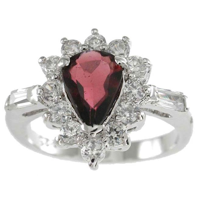 Plutus kkrgg5515c 925 Sterling Silver Platinum Finish Genuine Garnet Ring Size 8