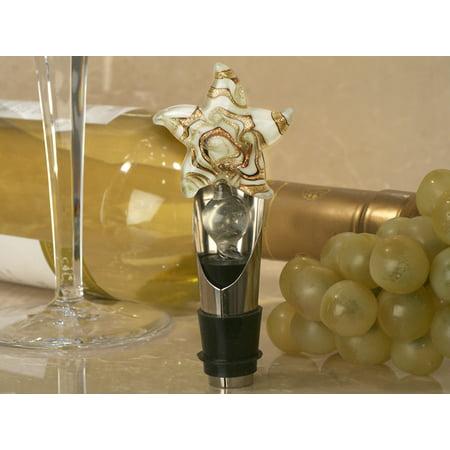 Murano art deco wine pourer- stopper Starfish design