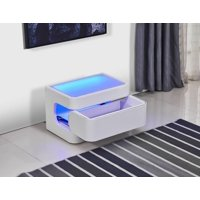 Greatime NL2401 Modern Nightstand with LED, Blue