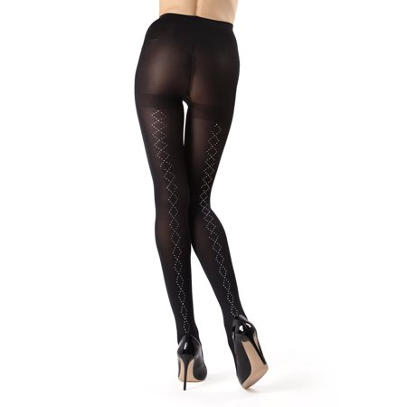 - MeMoi Berlin Studded Diamond Tights - Unique Legwear for Women by MeMoi S/M / Black MF7 194