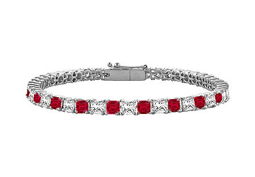July Birthstone Created Ruby and Cubic ZirconiaPrincess Cut Tennis Bracelet in 925 Sterling Silv by Love Bright