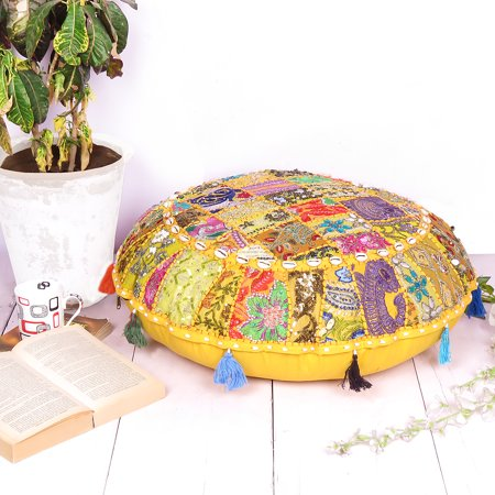 Indian Boho Floor Cushion Pillow Covers Patchwork Bohemian Round Floor Pillow Ottoman Pouf Seashell- 28