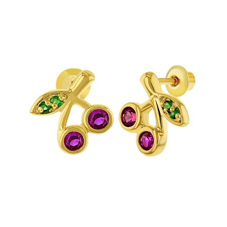 18k Gold Plated Fuchsia Green Crystal Cherries Screw Back Girls