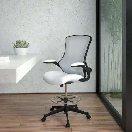 Flash Furniture Mid-Back White Mesh Ergonomic Drafting Chair with Adjustable Foot Ring and Flip-Up Arms [BL-X-5M-D-WH-GG]