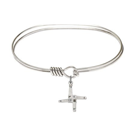 St  Brigid Cross Bangle Bracelet Plated In Rhodium With A Sterling Silver Charm By Bliss Mfg  Made In The Usa