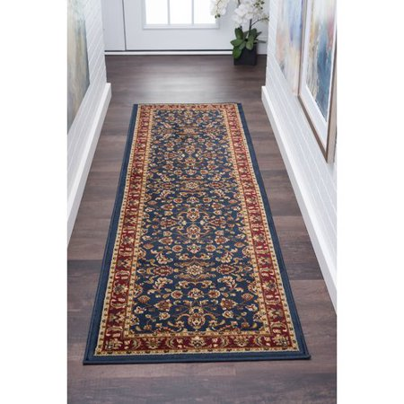 Darby Home Co Cothern Transitional Navy Blue Red Gold Area Rug