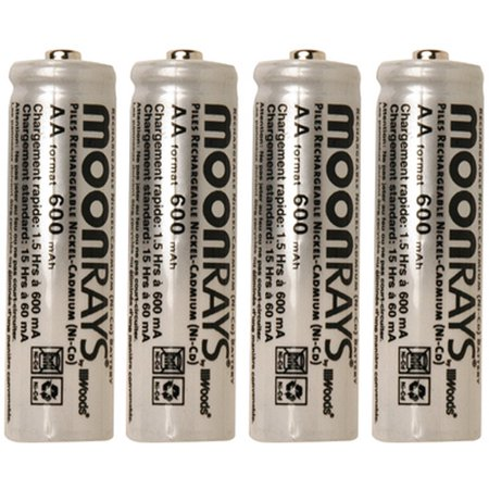 Moonrays 97125 Rechargeable Nicd Aa Batteries For Solar Powered Lights  4Pk