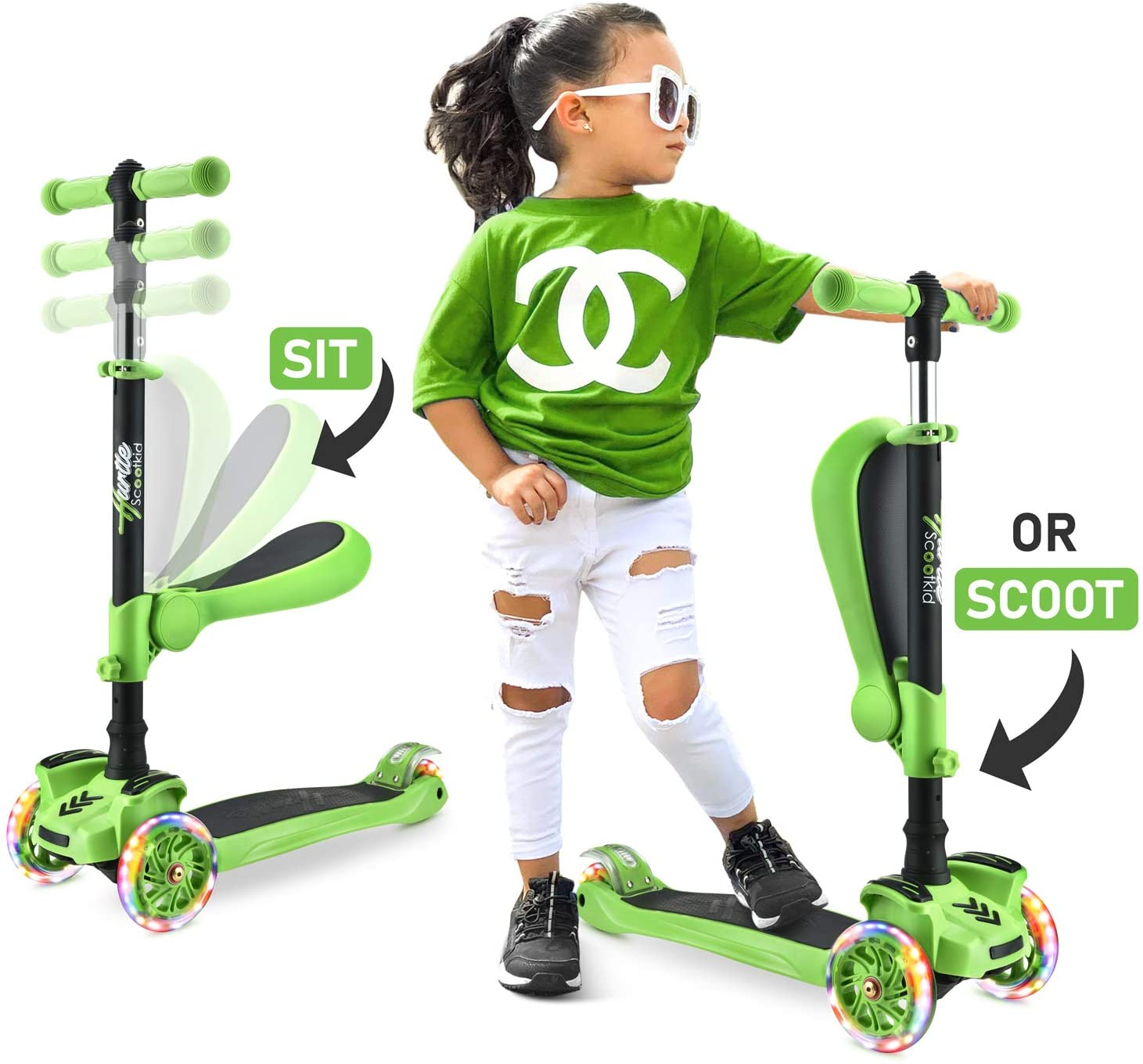 Sit or Stand Ride with Brake for Boys and Girls Ages 2-10 Years Old SISIGAD 3-Wheeled Scooter for Kids Toddler Scooter with 3 Wheel LED Lights Adjustable Lean-to-Steer Handlebar Foldable Seat