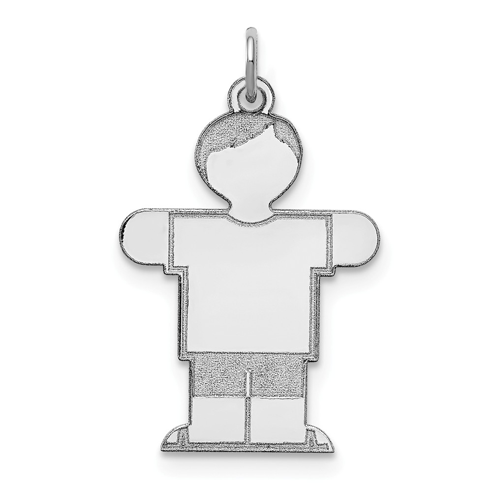 Sterling Silver Engravable Kid Charm (1.2in long x 0.7in wide)